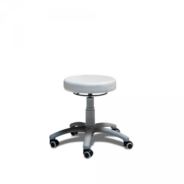 Hocker mit rundem Sitz und grauem Fuß, Weiß, Neuware Sonderposten