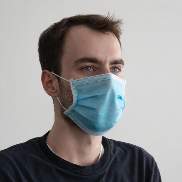 Einweg-Mund-Nasen Maske 3-lagig blau, 50 Stück