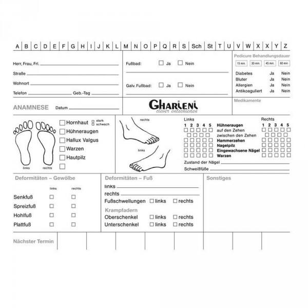 Kundenkarteikarten Fußpflege, 100 Stück
