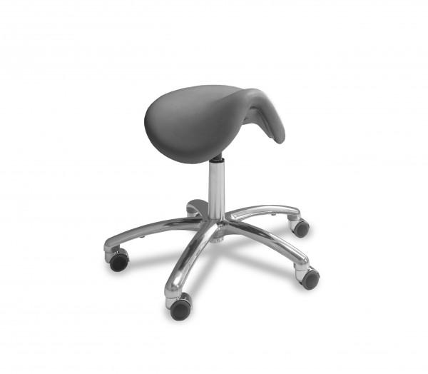 Sattelsitz-Stuhl anatomisch, Platin, Chromfuß, Neuware