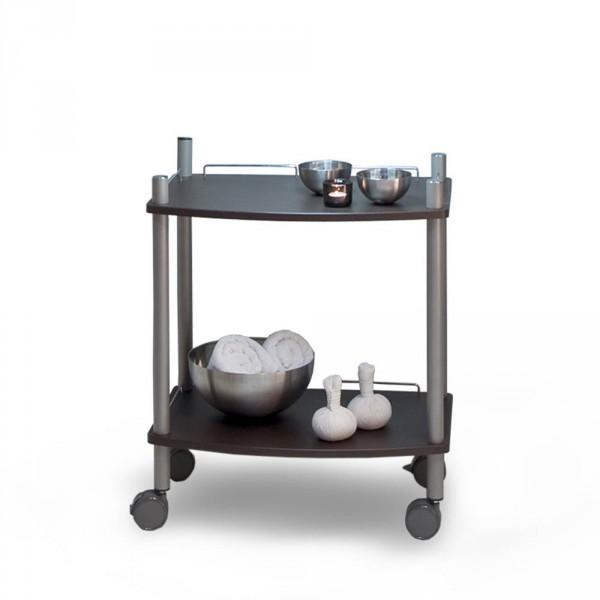 Gerätewagen Lamica Wenge Decor mit zwei Tabletts und Stangen Titan RAL9007