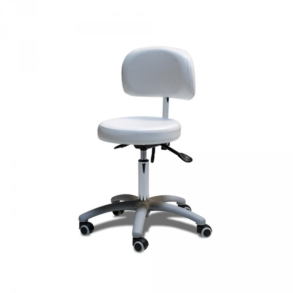 Stuhl mit rundem Sitz mit grauem Fuß und Chromgasdruckfeder, WEIß, Neuware