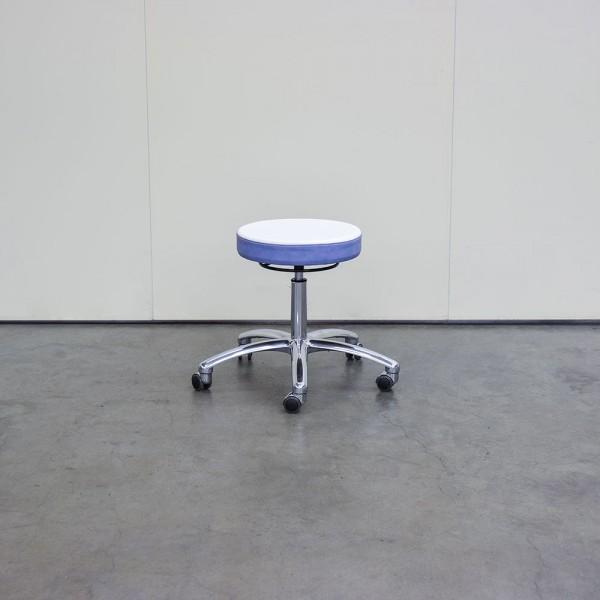 Hocker mit rundem Sitz, in Weiß/Azur, mit Chromfuß, Ausstellungsstück H46