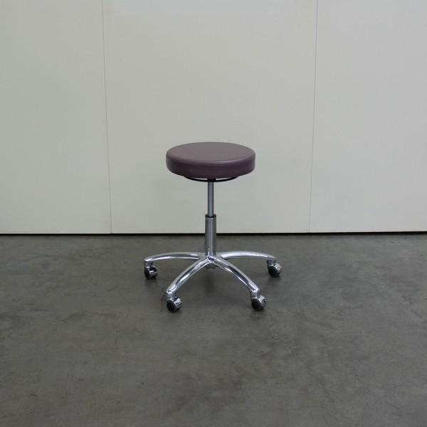 Hocker mit rundem Sitz und Chromfuß in Choco, Ausstellungsstück G19