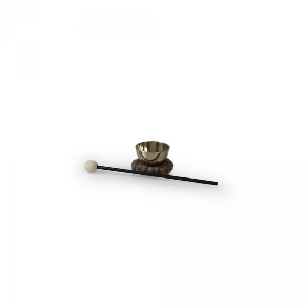 Kleine Zen-Klangschale, 7cm inkl. Untersetzer und Filzschlägel
