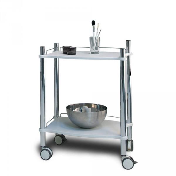 Gerätewagen LAMICA DECORLINE mit zwei weißen Tablettfächern und Chrom-Gestell